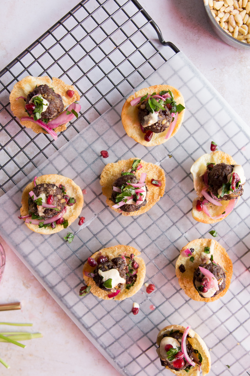 Middle Eastern Meatballs on Mini-Pita Crisps | Taste and Tipple