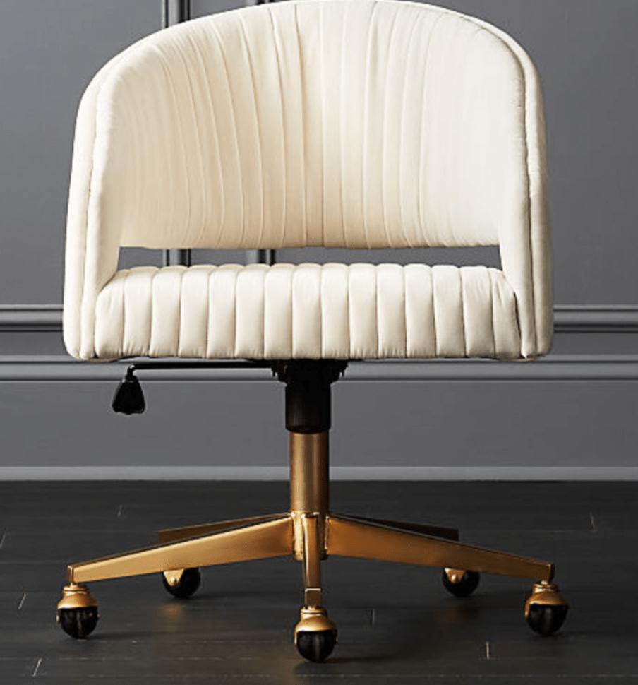 Channel Ivory Velvet Office Chair | Taste and Tipple
