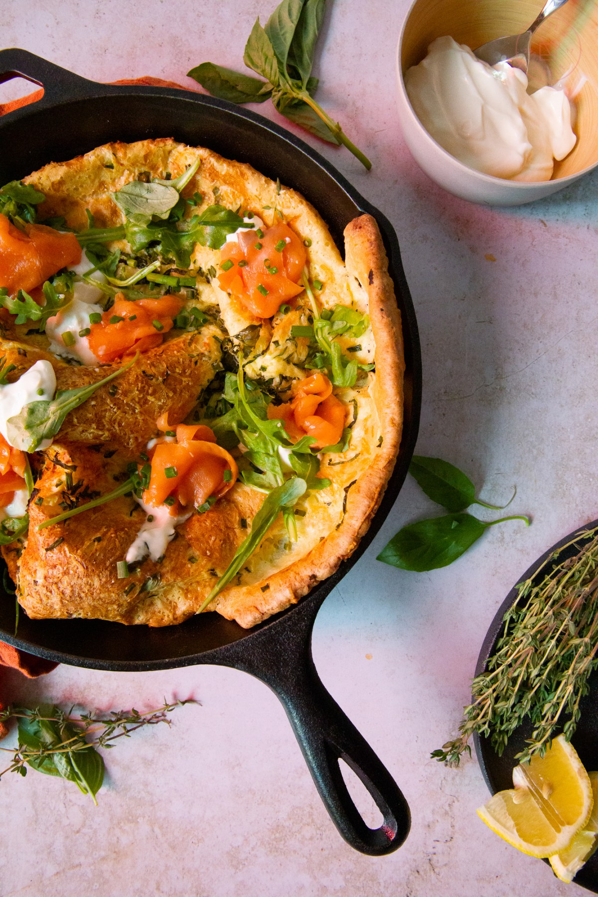 Savoury Herbed Dutch Baby with Smoked Salmon | Taste and Tipple