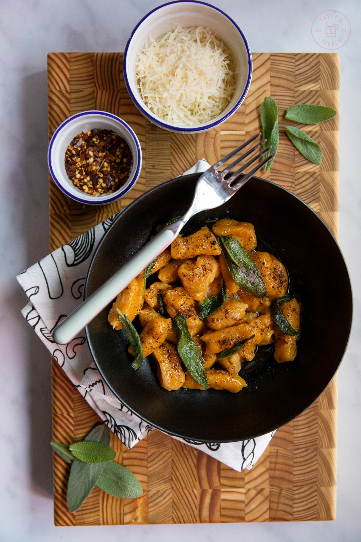 Sweet Potato Gnocchi In Brown Butter Sage Sauce | Taste and Tipple