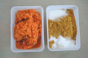 Wet (left) and dry (right) curry ingredients.