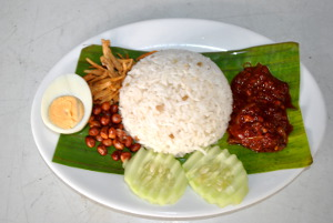 hard boiled eggs with nasi lemak