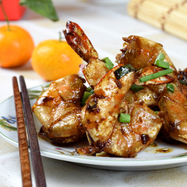 Chinese style pan-fried shrimps