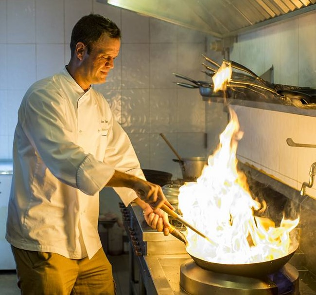 Baby light my fire! Chef Martin creates and serves delectable cuisine.