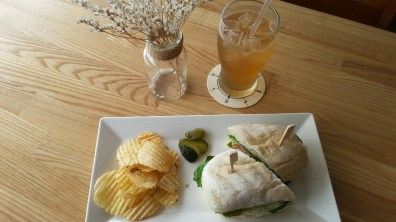 Sparking Ginger and Lemon Tea with Cranberry Chicken Sandwich at House on the Hill