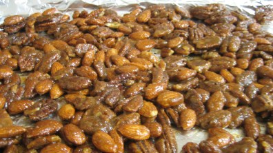 Candied Spiced Nuts Before Baking