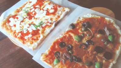 Chorizo Pizza and Siciliana Pizza at Trevia Pizza di Roma