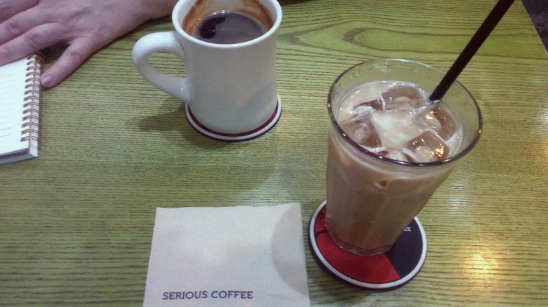 Americano and Iced Vanilla Latte at Serious Coffee