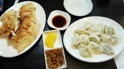 Semi-fried Shrimp and Pork Dumplings, Boiled Shrimp and Pork Dumplings, and Side Dishes at Jonny Dumpling