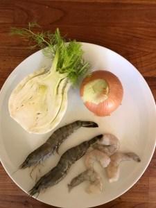 Prawns, fennel and onion