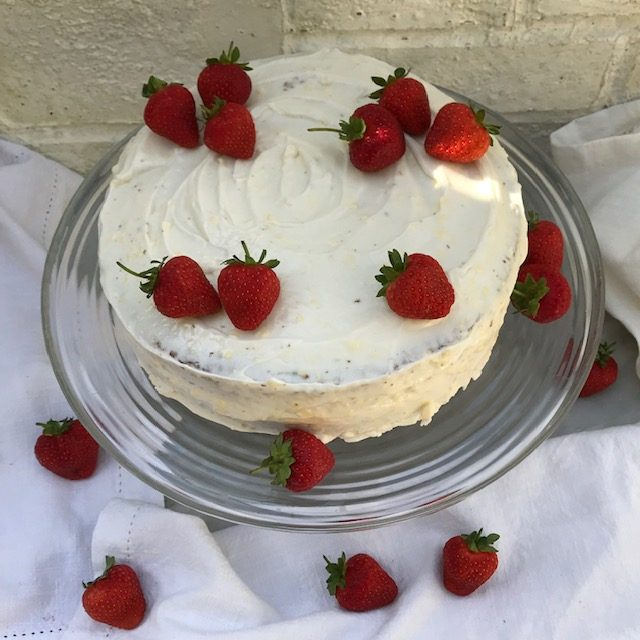 Red Velvet Cake with Strawberries