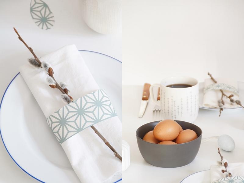 Tischdeko-Ideen für Ostern in hellblau und weiß, DIY-Idee zum Nachmachen: Serviettenring aus Tapete basteln. Tasteboykott.