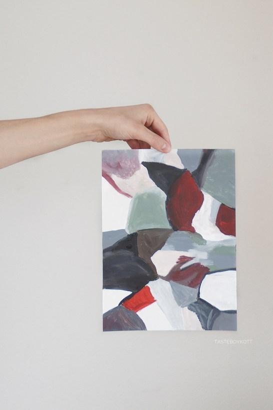 Moderne_abstrakte_Kunst_Malerei_Acryl_geometrisch_rot_grau_weiss_Tasteboykott_Wohnblog
