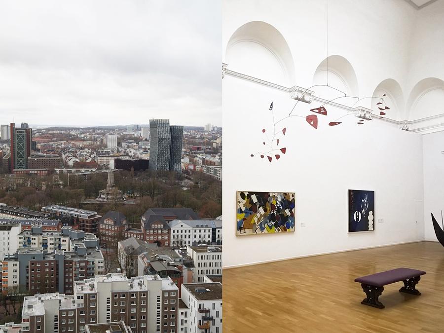 Hamburg Michel Kirchturm Ausblick und Hamburger Kunsthalle