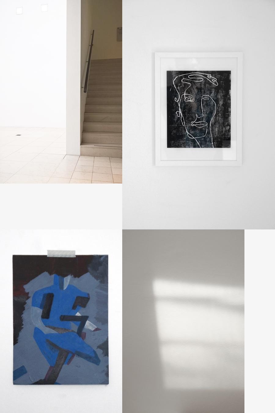 Porträt Holzschnitt und abstrakte Malerei Figur - Kunst-Update April 2019