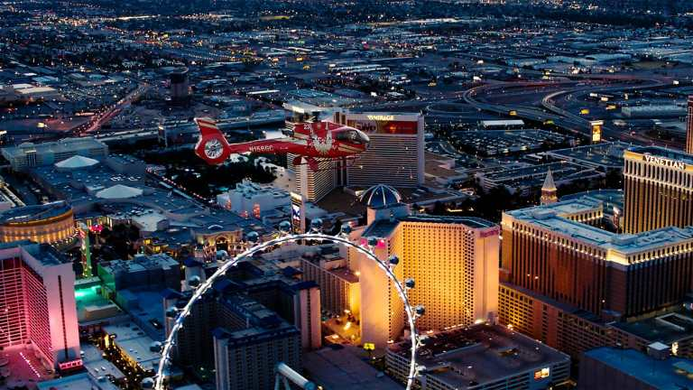 Helicopter over the Las Vegas Strip at night