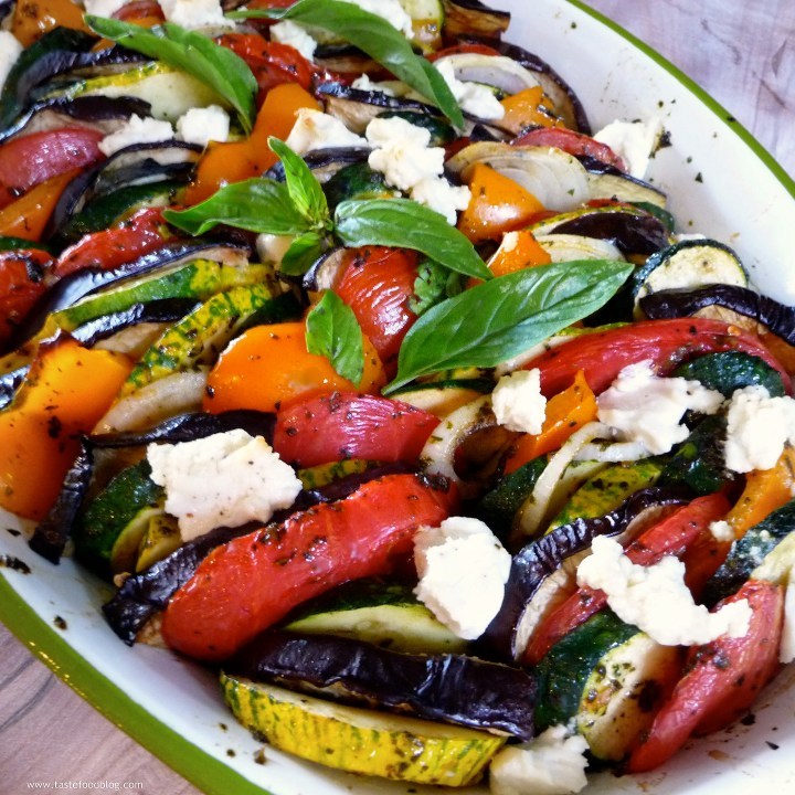 Provençal Vegetable Tian with Goat Cheese and Basil Coulis