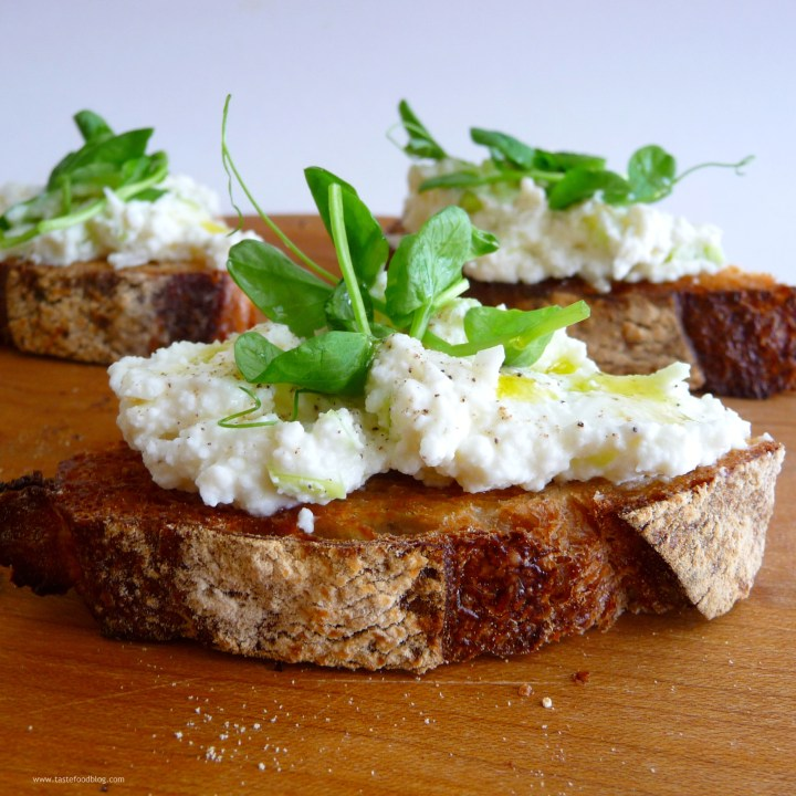 Crostini with Ramps and Pea Shoots
