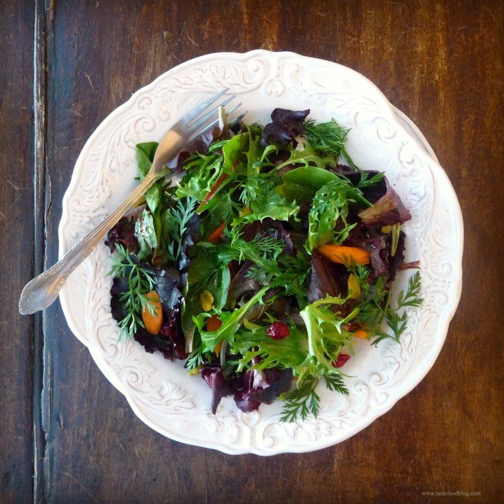 Winter Greens Salad with Cranberries and Pistachios