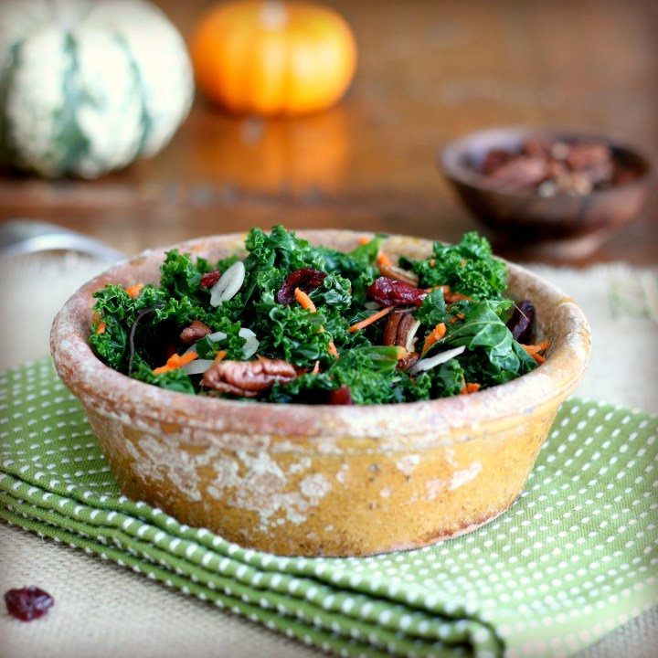 Kale and Carrot Salad with Pecans and Cranberries