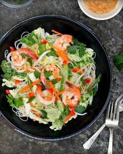 Shrimp and Rice Noodle Salad with Spicy Peanut Dressing