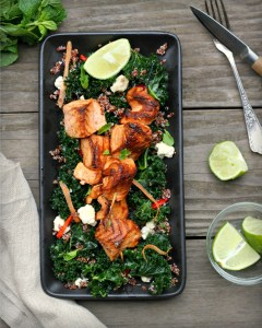Grilled Salmon Skewers with Kale and Quinoa Salad