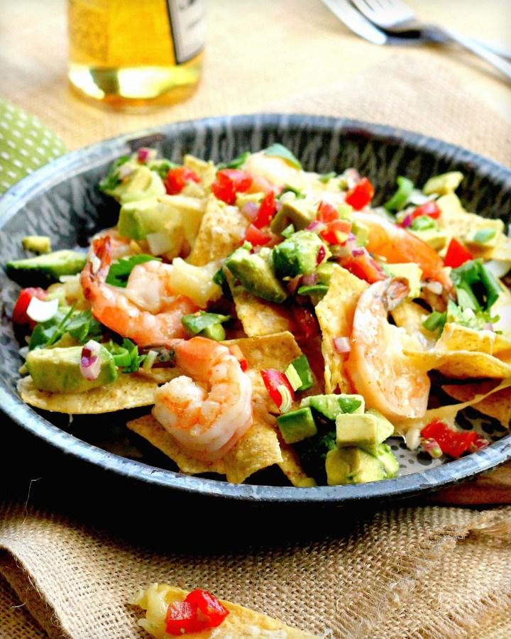 Homemade Cheesy Nachos with Shrimp