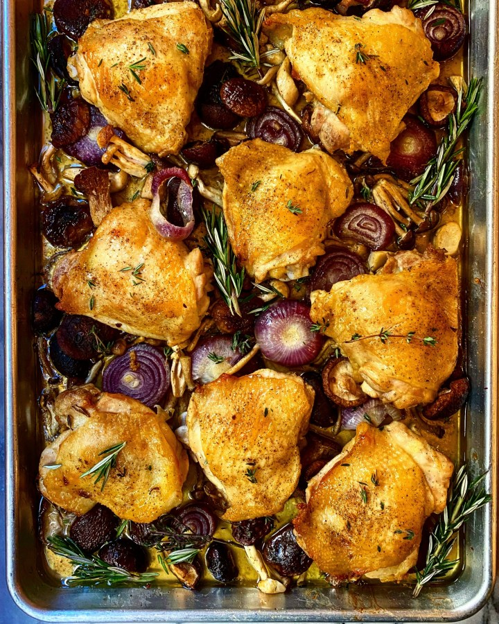 Sheet Pan Comfort: Roasted Chicken Thighs with Onions and Wild Mushrooms