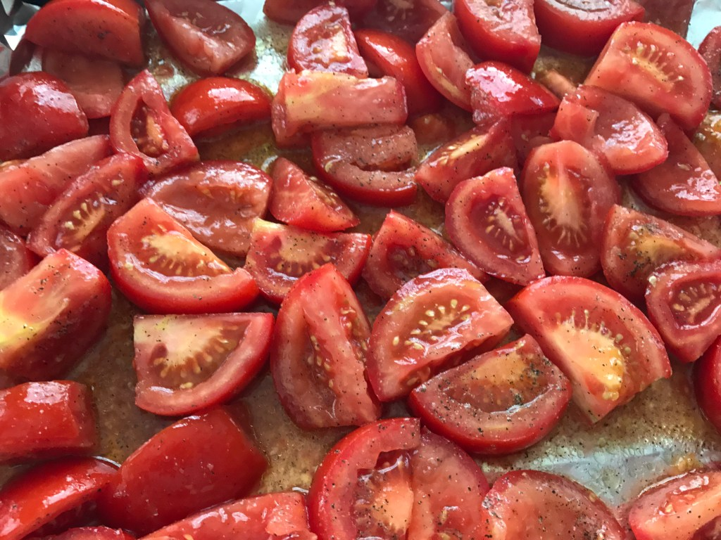 Tomatoes on a roasting pan
