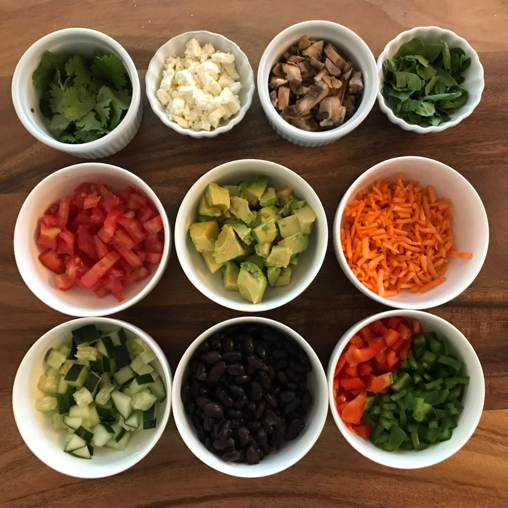 Chopped ingredients for veggie rice power bowl