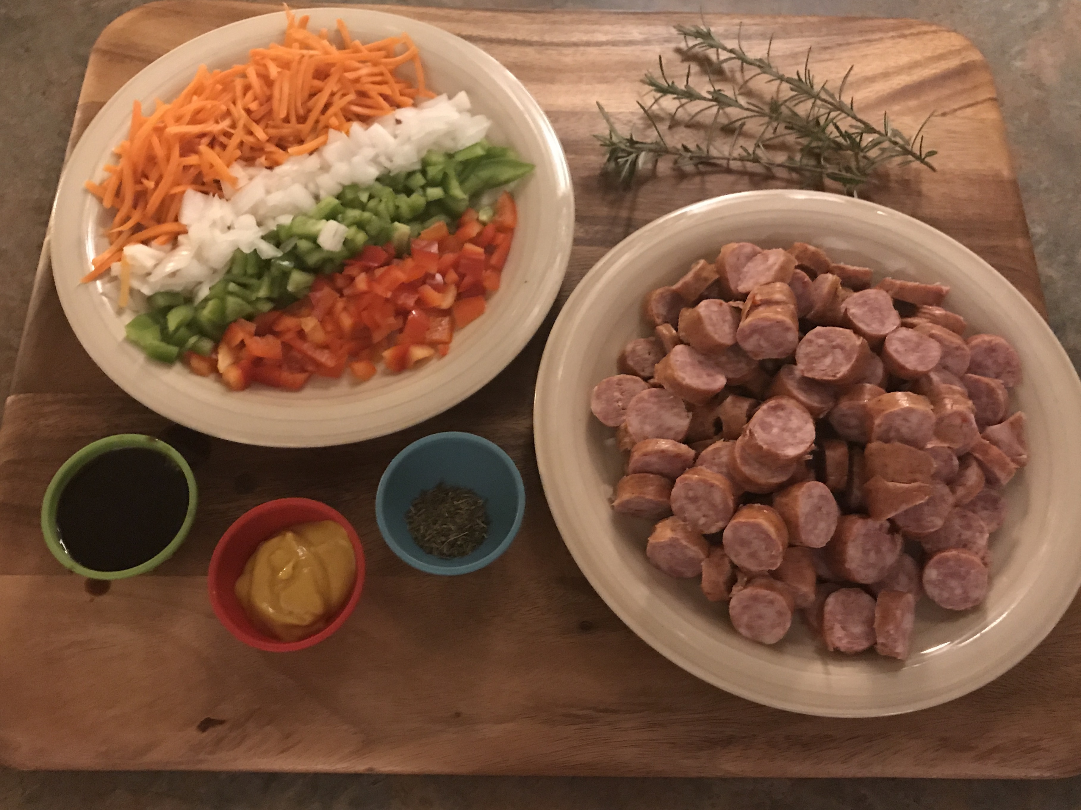 Ingredients for Oven Roasted Sausage and Peppers over Orzo