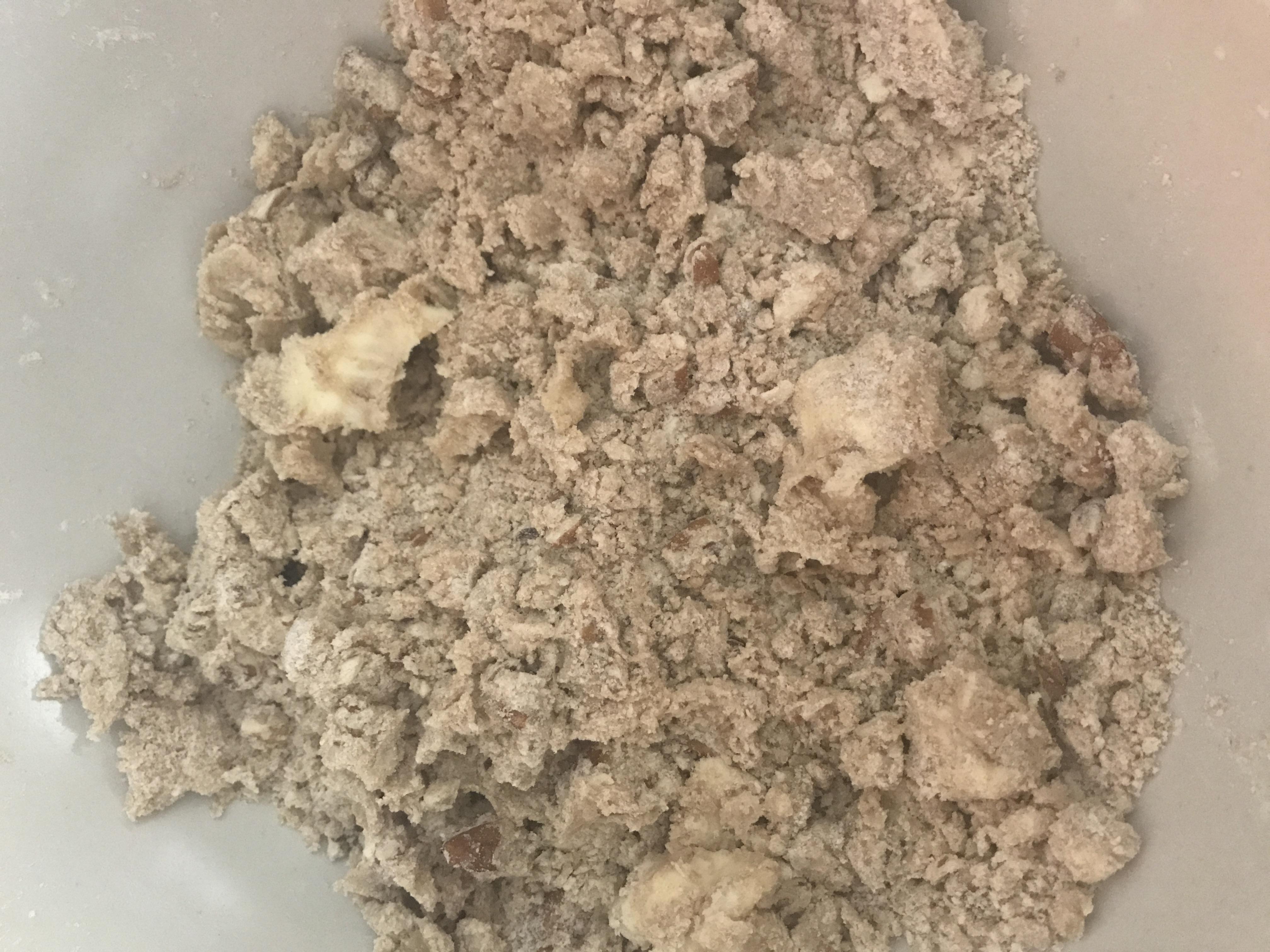 Combining ingredients for brown sugar shortbread cookies
