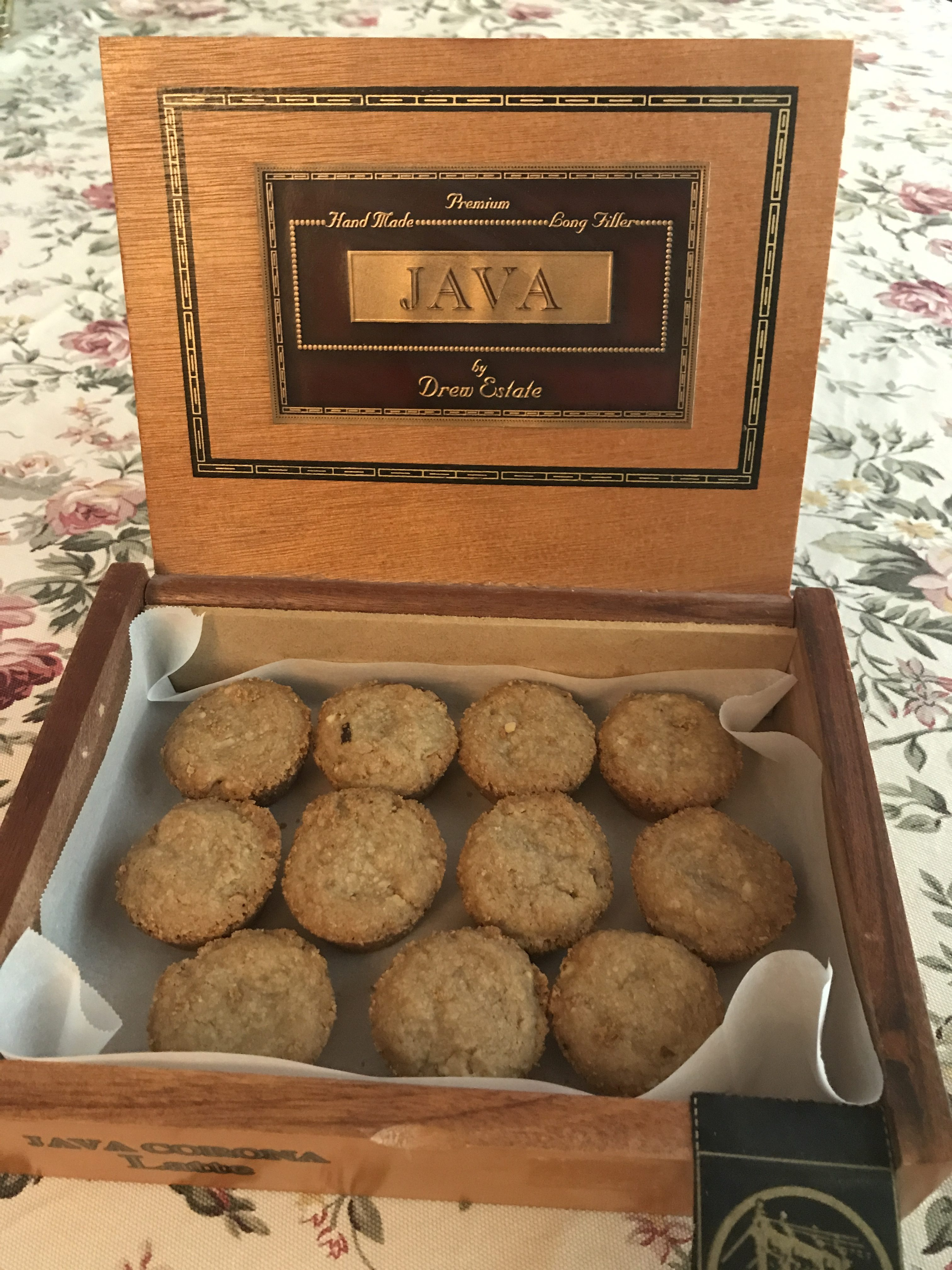 Brown Sugar Shortbread Cookies displayed in a pretty wooden cigar box