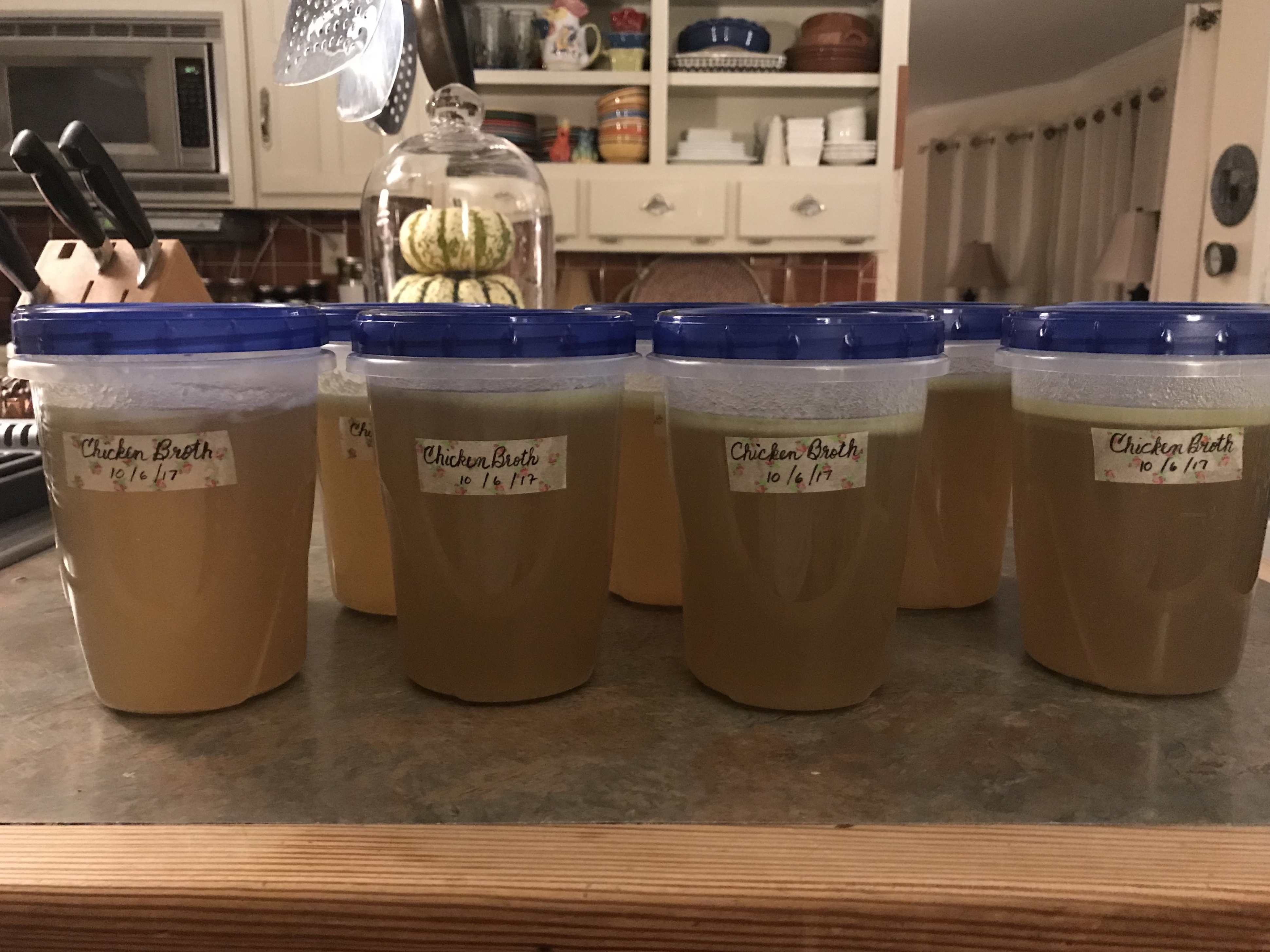 Finished homemade chicken broth, labeled and dated