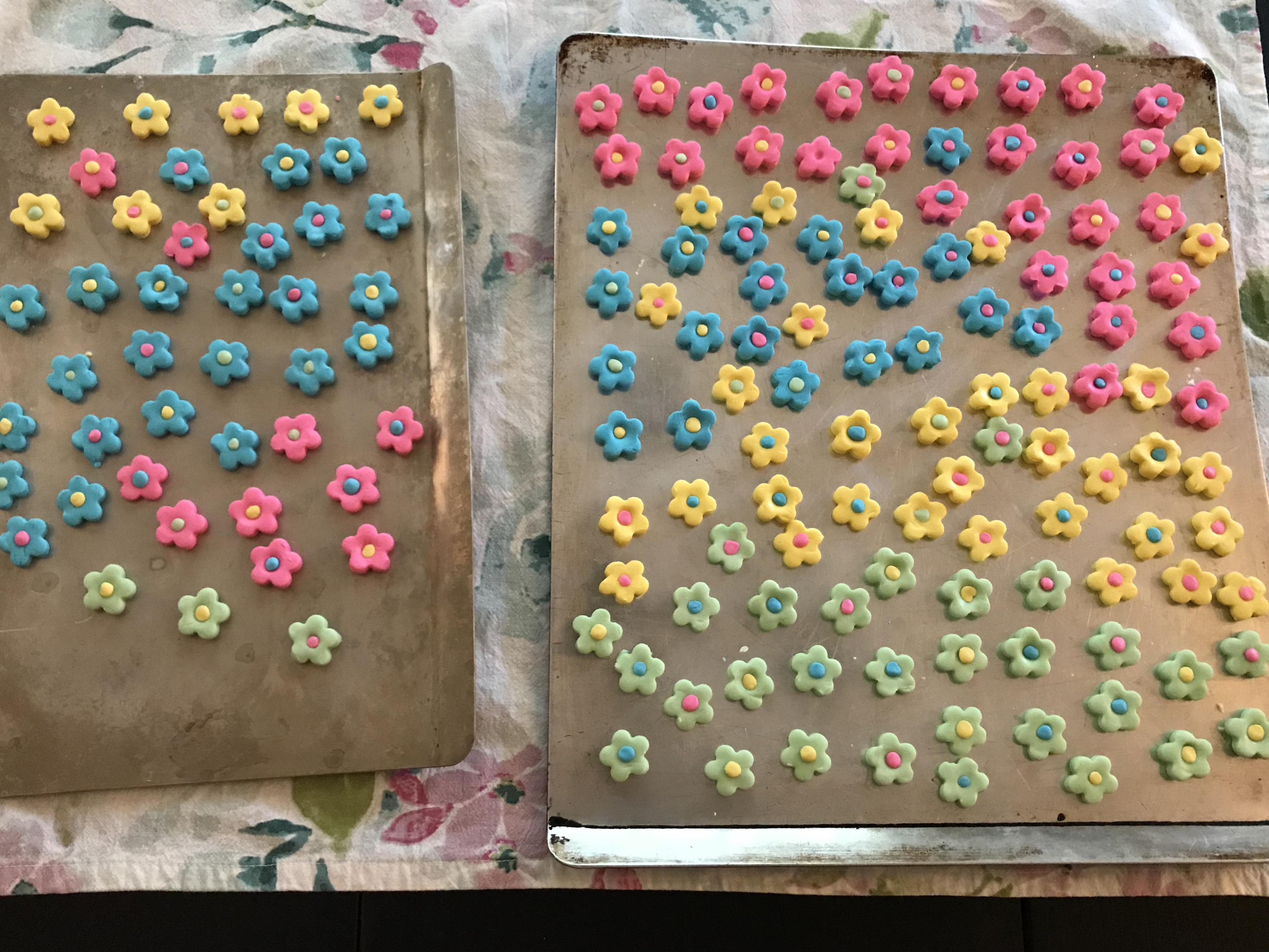 Mints drying on cookie sheets
