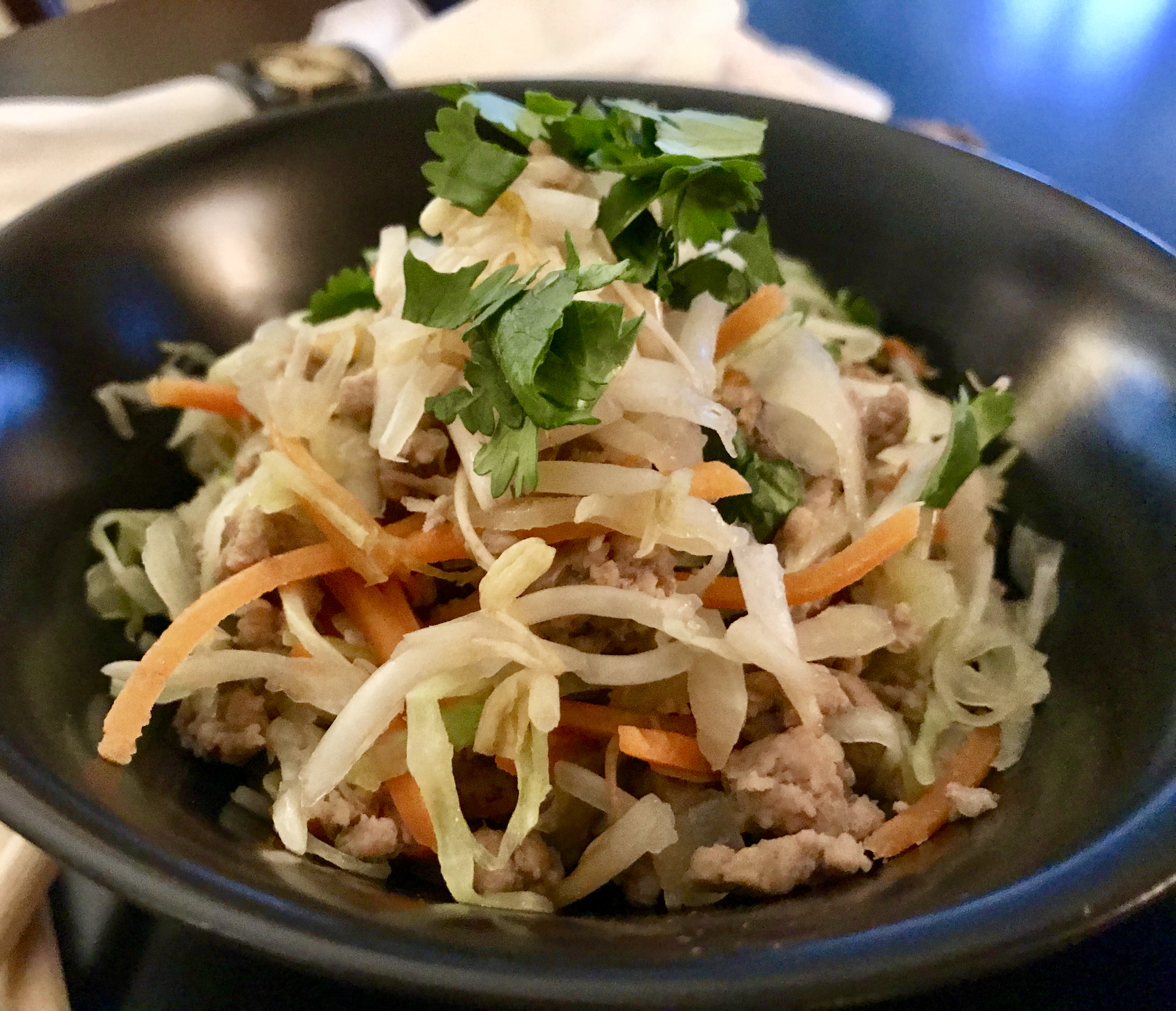 Egg Roll - Unwrapped in a bowl with garnishes