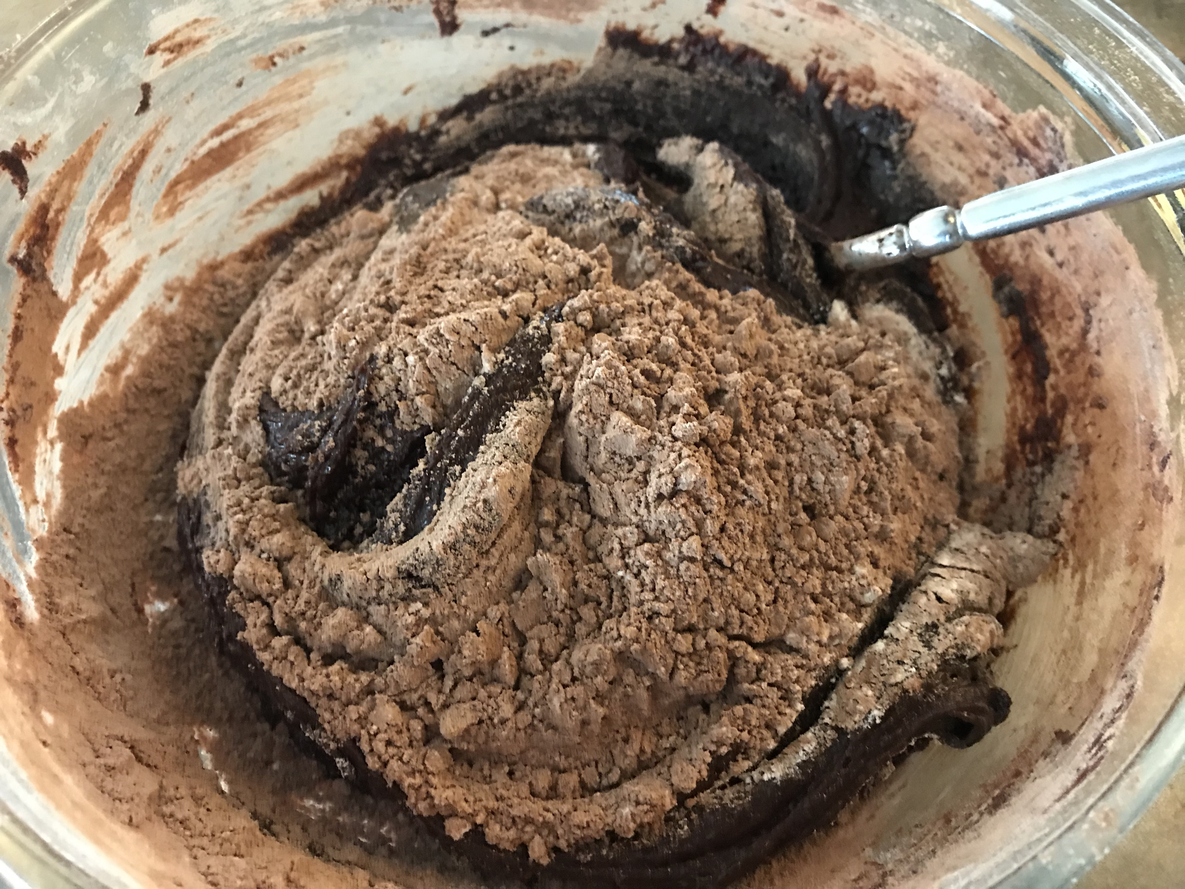 Stir dry ingredients into chocolate mixture for Seriously Chocolate Cookies
