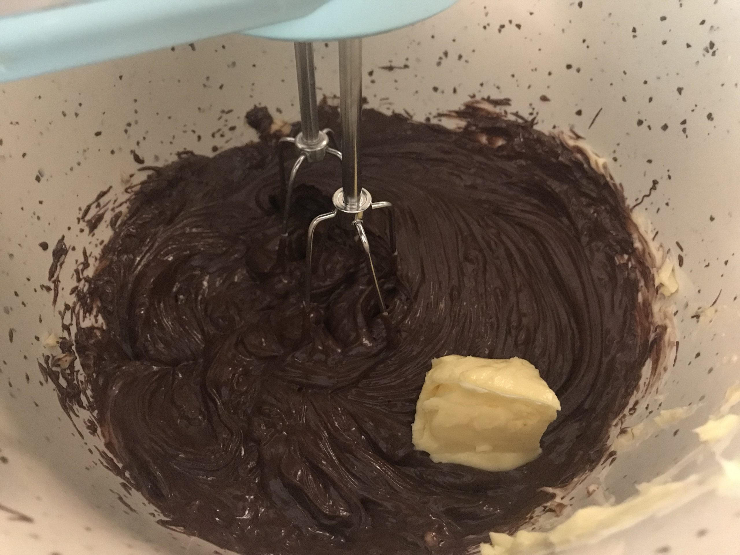 Mixing ingredients for Flourless Chocolate Cake