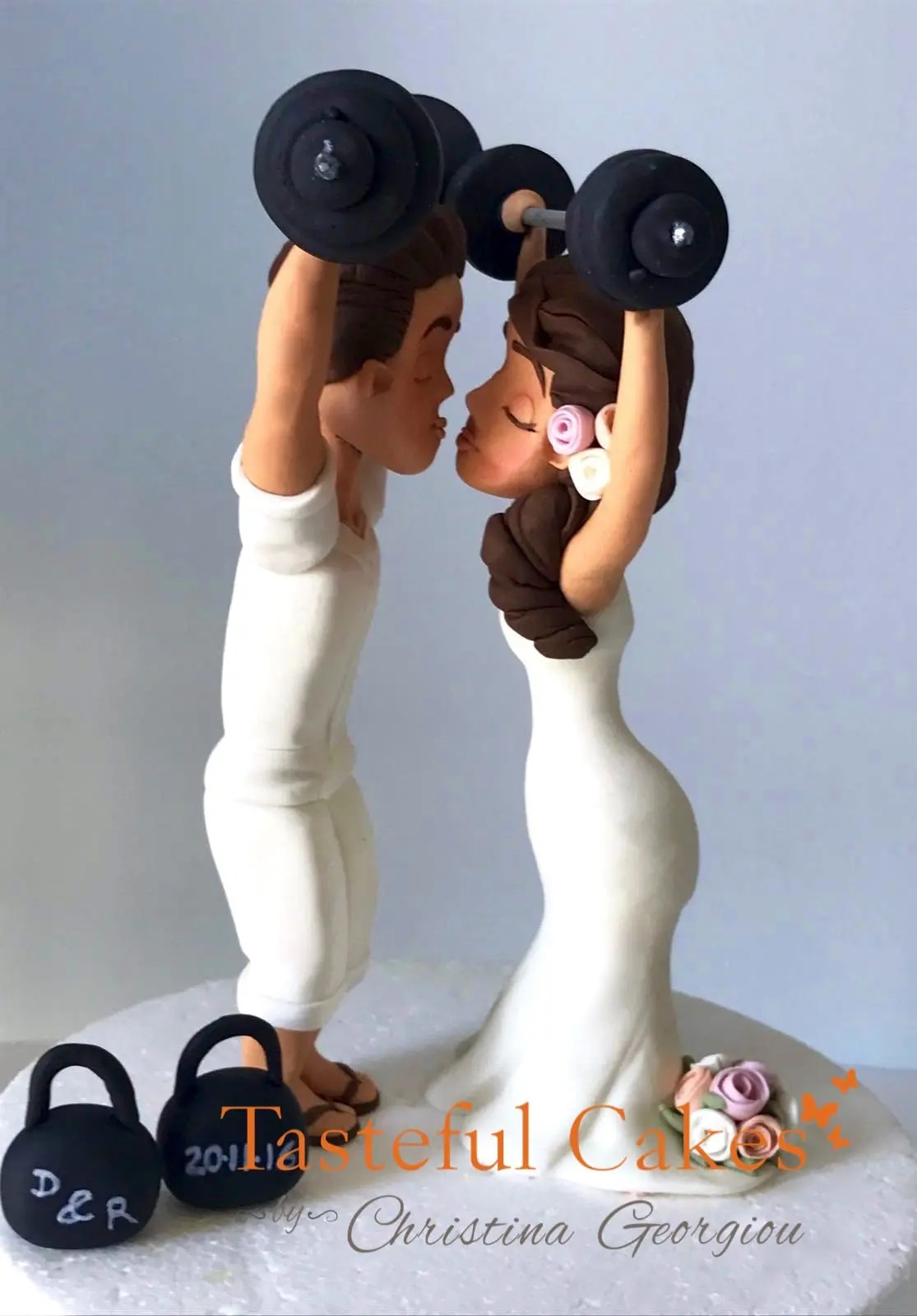 Tasteful Cakes By Christina Georgiou  GymWeightlifting Bride and Groom Wedding Topper