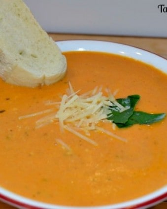 Rich & Creamy Tomato Basil Soup in the Crockpot