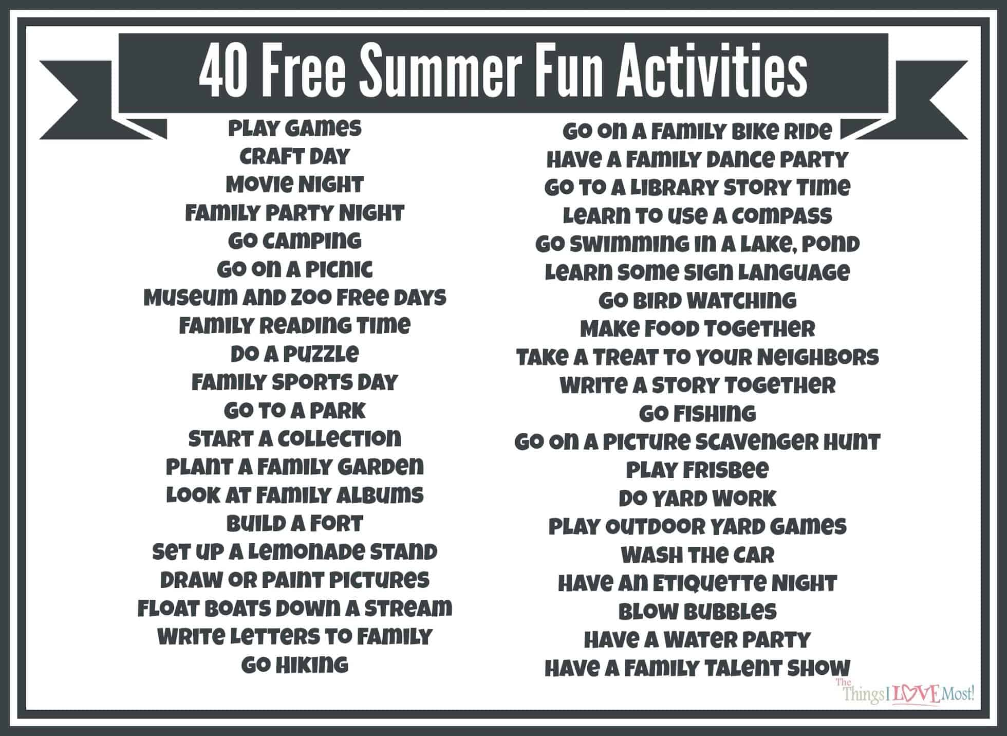 52 Days Of Summer Kids Activity Cards