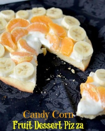 Candy Corn Fruit Dessert Pizza | Day 1 of Tastefully Frugal's 13 Frightfully Fun Days of Halloween