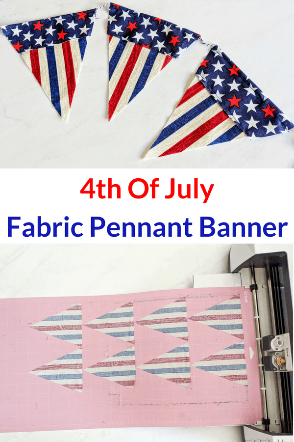 This patriotic fabric banner is easy to make with the Cricut Maker! #ad #CricutMade #Cricut