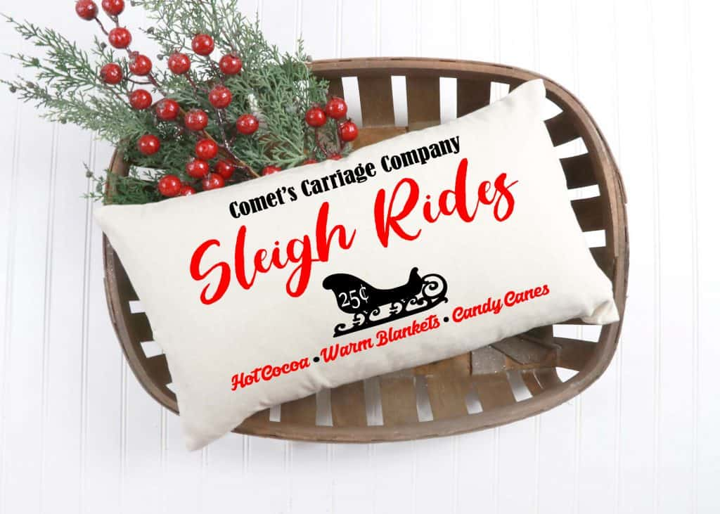 decorative holiday pillow in a basket