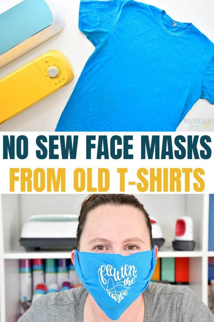 Make no sew face masks out of old shirts. FREE template included.