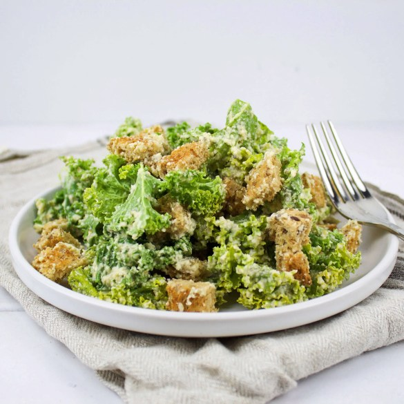 Easy kale vegan Caesar salad with roasted garlic