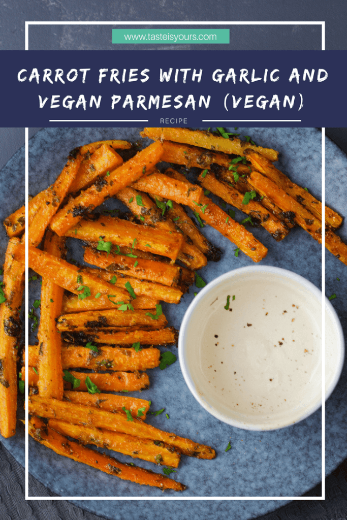 This easy carrot and garlic fries, pumped with perfect vegan Parmesan and vegan mayo dip are ready in 30 minutes.