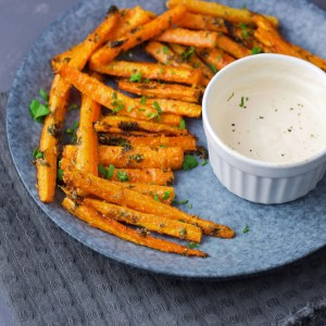 This easy carrot and garlic fries, pumped with perfect vegan Parmesan and vegan mayo dip are ready in 30 minutes. 1
