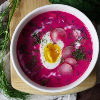 Traditional Polish cold beetroot soup, chlodnik which you shouldn't be afraid to serve during hot summer season