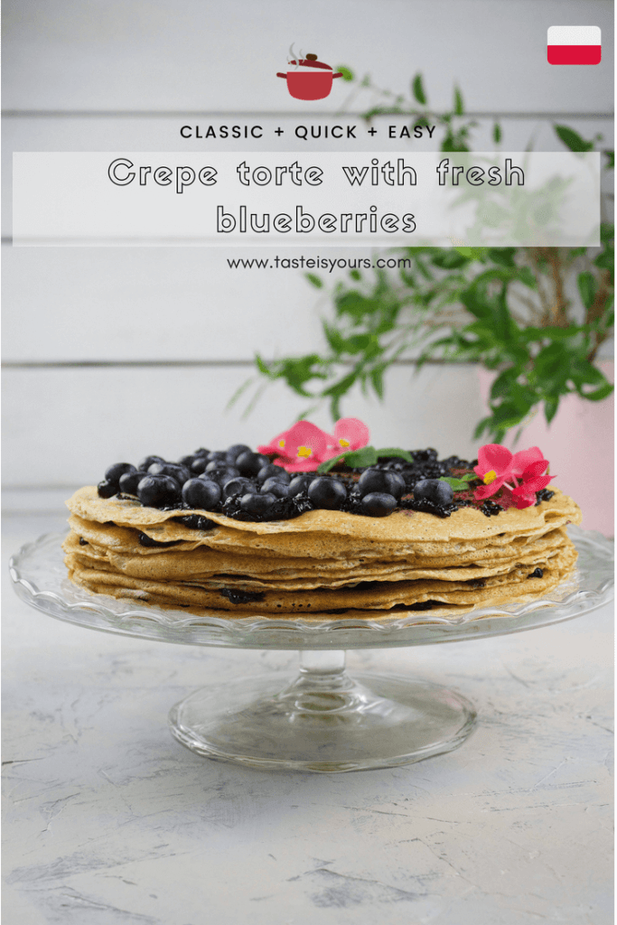 Crepe torte with fresh blueberries